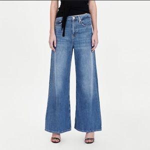 ZARA Wide Leg Malibu Blue Jeans